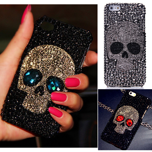 Cool 3D Skull Skeleton Blue Red Eyes Bling Capa Cases for iPhone XS Max XR XS X 8 7 Plus 6 Plus