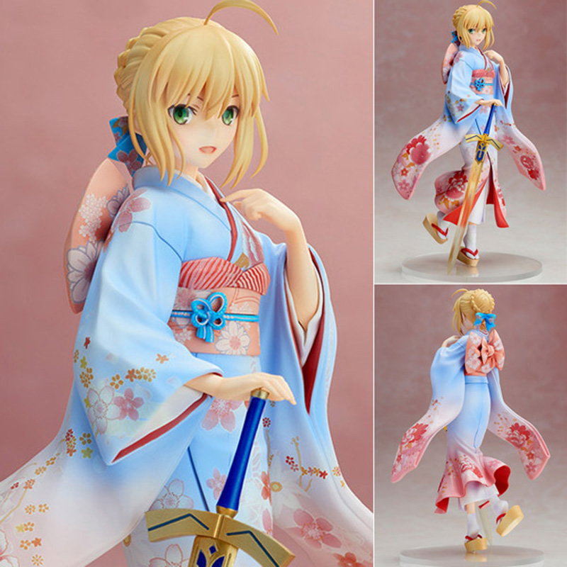 ZXZ Anime Aniplex Fate Stay Night 25cm kimono Saber Model Doll Sexy Girl Anime PVC Action Figure Toys Collection Model anime fate stay night saber red armor ver pvc action figure collectible model doll toy 26cm
