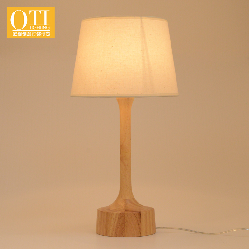 Oti Lighting American Country Style Table Lamp Wood Base Cloth Shade E14 Holder Desk Light 1pcs In Lamps From Lights On Aliexpress