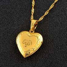 Heart Allah Necklace Pendant for Women Muslim  Jewelry Men,Gold Color Islam Chain Necklaces Prophet Muhammad #201902