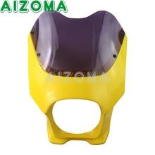 Amarelo Carenagem Do Farol Fumaça Pára 6 Polegada Farol Frente Cowl Para Yamaha Honda Suzuki Motos EN125 GSX125 Corrida