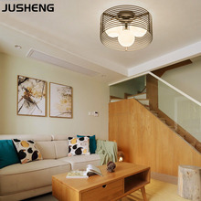 JUSHENG Modern LED round 40cm Metal Glass Shade Bedroom Dining Room Living Ceiling Lamp E27 Bulb 110-240V AC