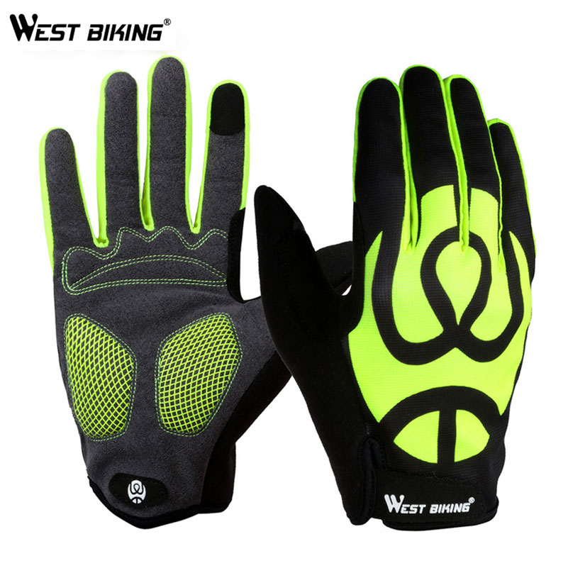 WEST BIKING Cycling Gloves Full Finger Touch Screen Bicycle Gloves Windproof Silica Gel Anti-slip Men Women MTB Road Bike Gloves rockbros cycling gloves full finger touch screen men women winter warm mtb bike bicycle windproof gloves for smartphone phone