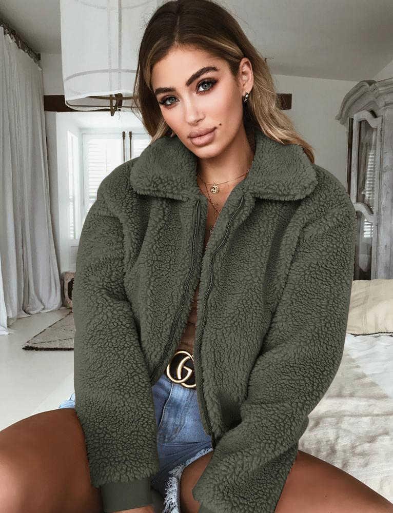 2018 冬の女性テディベア長袖フリースジャケット作物はジップアップパンク特大生き抜くコートポケット