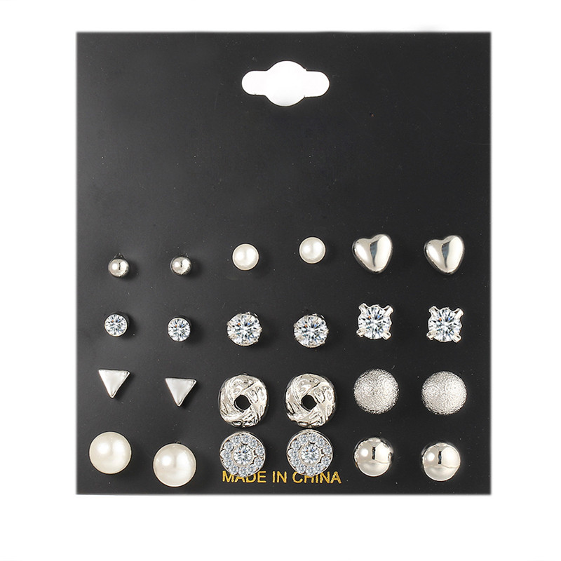 Fashion 12 pairs Set White Simulated Pearl Stud Earrings Set For Women Jewelry Accessories Piercing Ball Earrings Brincos in Stud Earrings from Jewelry Accessories