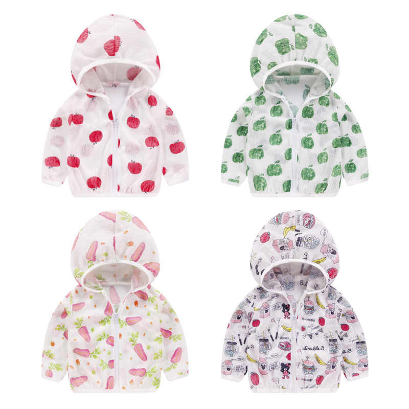 2019 Kids Sun Protection Clothing Coat Unisex Cute Cartoon Print Summer UV Protection Quick Dry Thin Jacket with Hooded ZipperCA