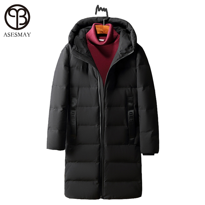 Asesmay High Quality White Duck Down Jacket Winter Men Down Parka Brand Goose Long Coat Hooded Feather Mens Warm Winter Jackets