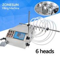 ZONESUN Electric Digital Control Pump Liquid Filling Machine 3 4000ml for liquid perfume water juice essential oil with 6 heads