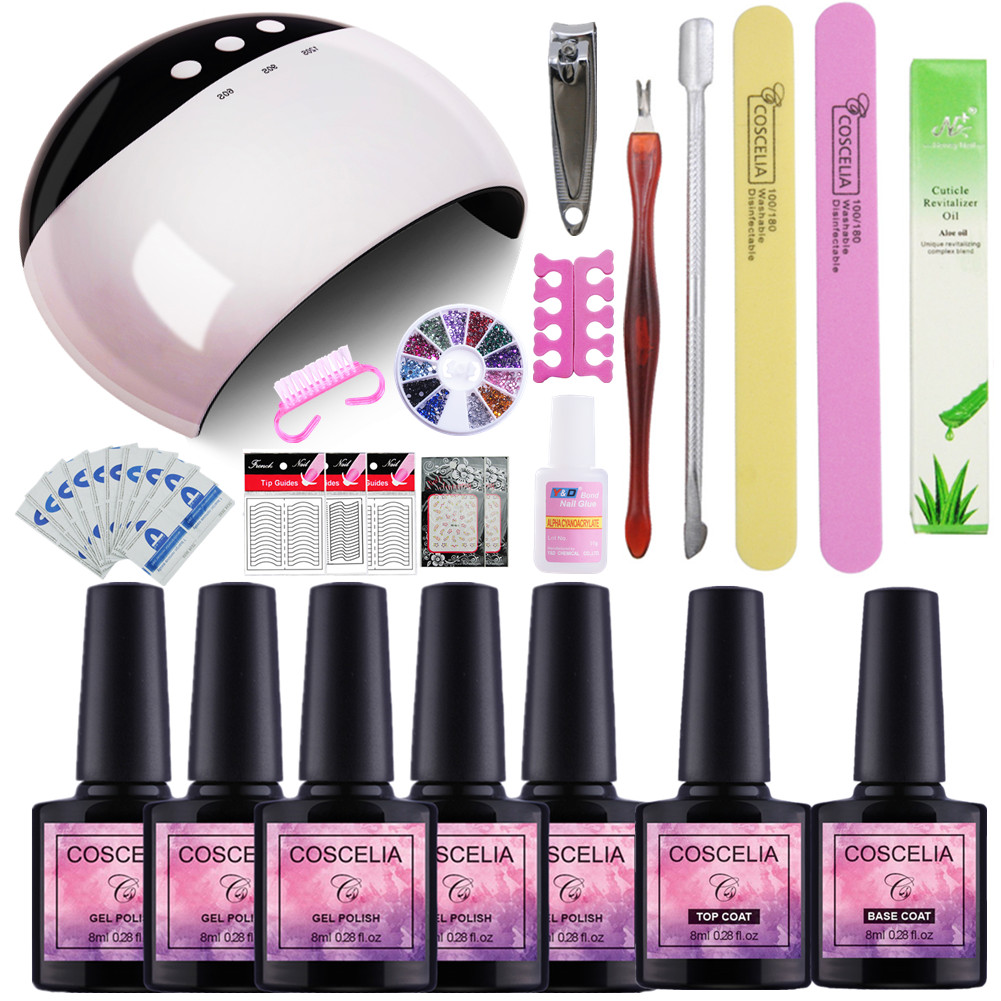 Manicure Set Nail Gel Set with 24W UV Lamp Nails Cutter Pusher Stickers Nail Gel Polish Set Gel Nail Kit for Manicure Kit Decal flamingo nail stickers animal series water decal ocean cat plant pattern 3d manicure sticker nail art decoration