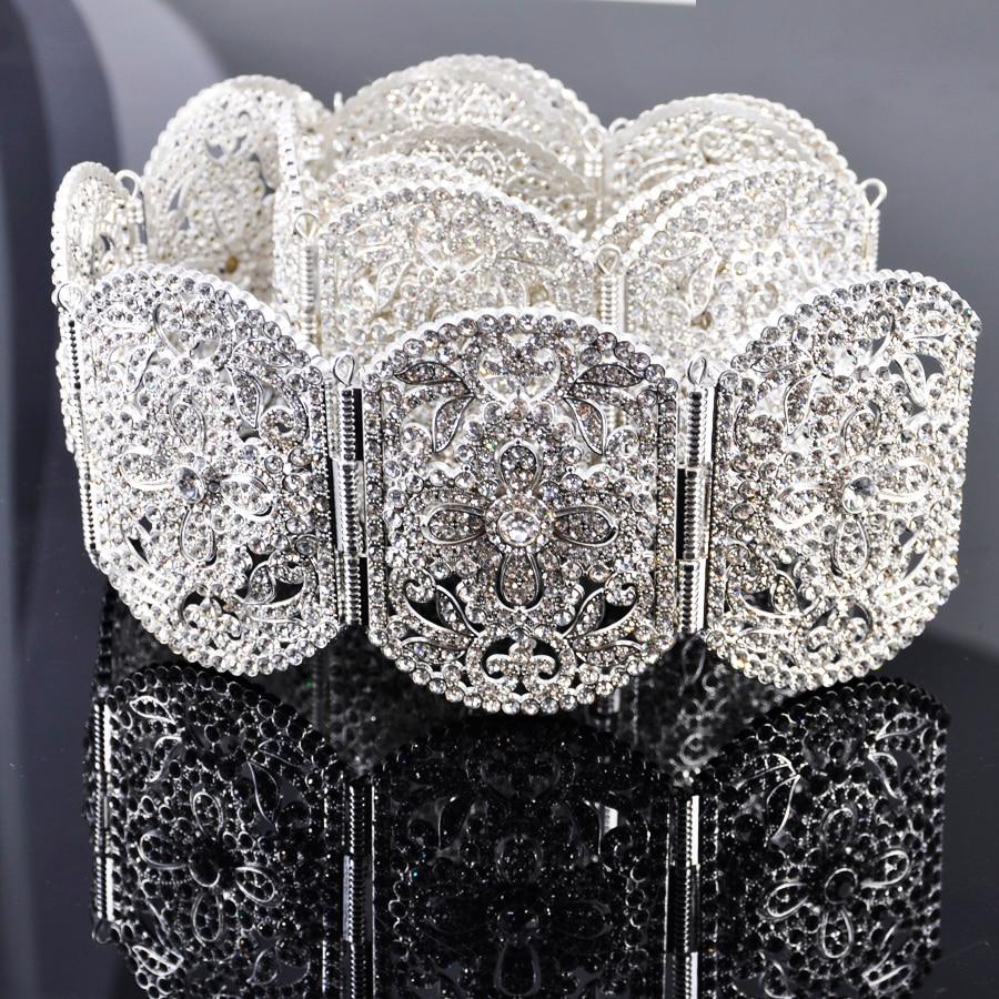 Shining Silver Moroccan Wedding Belt Full Stone Women Waist Chain Luxury Diamonte Waist Chain Jewelry