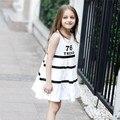 2016 Última Moda De Vestir Para Niñas Vestido De Algodón Diseño de Letra Impresa Raya De Edad 4 5 6 7 8 9 10 11 12 13 14 T Años de Edad Los Niños