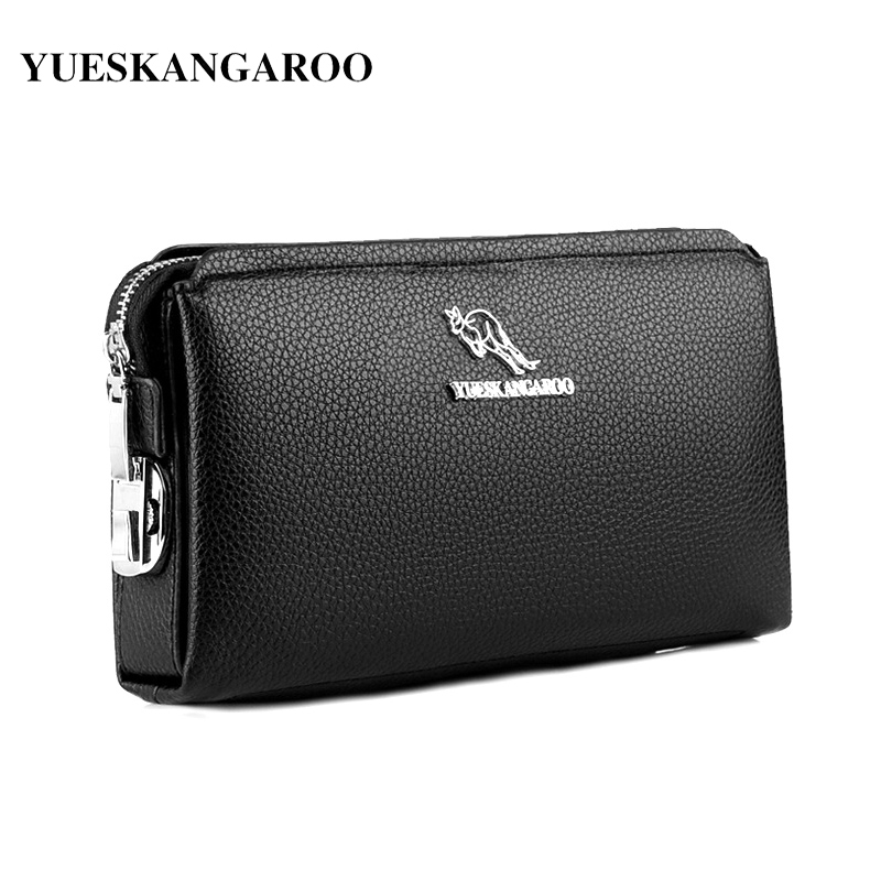 YUES KANGAROO Famous Brand Men Clutch Bags Leather Purse Casual Long Phone Wallet Black Brown Male Handy Bags Masculina 2016 famous brand new men business brown black clutch wallets bags male real leather high capacity long wallet purses handy bags