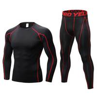 2 Pieces Men GYM Compress Fitness Sets Long Tee Top + Legging + Shorts Workout Exercise Sport Shirts Running Tights A269