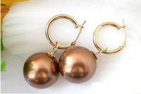 GENUINE Huge AAAA+ 16mm chocolate South Sea Shell Pearl Earring 14K Gold q