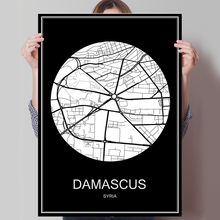 DAMASCUS Syria Famous World City Map Print Poster Print on Paper or Canvas Wall Sticker Bar Pub Cafe Living Room Home Decor(China)