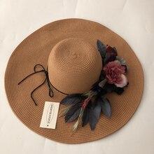Fsshion New Slid Floral  Vinatge Elegant Straw Sun Hats For Women Girl Summer Cap Outdoor holiday sunshade folding beach sun hat все цены