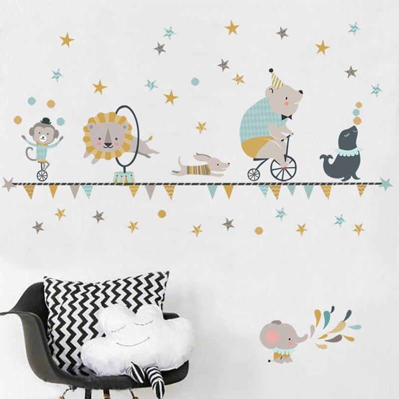 bear//elephant//monkey Circus animals Nursery//Baby//Kid/'s Wall sticker Decal