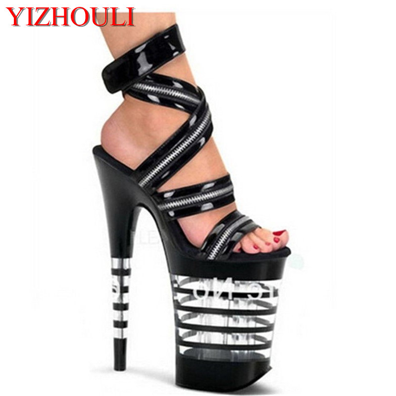 20cm super high heart with runway looks sandals, super high heels pole dance performance of the lacquer that bake Dance Shoes jimmy choo туфли