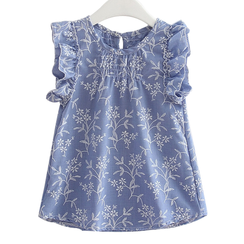 Girls T-Shirt Sleeveless Dress Clothes for Children Kids Casual Leaf Style 2 to 6 Years