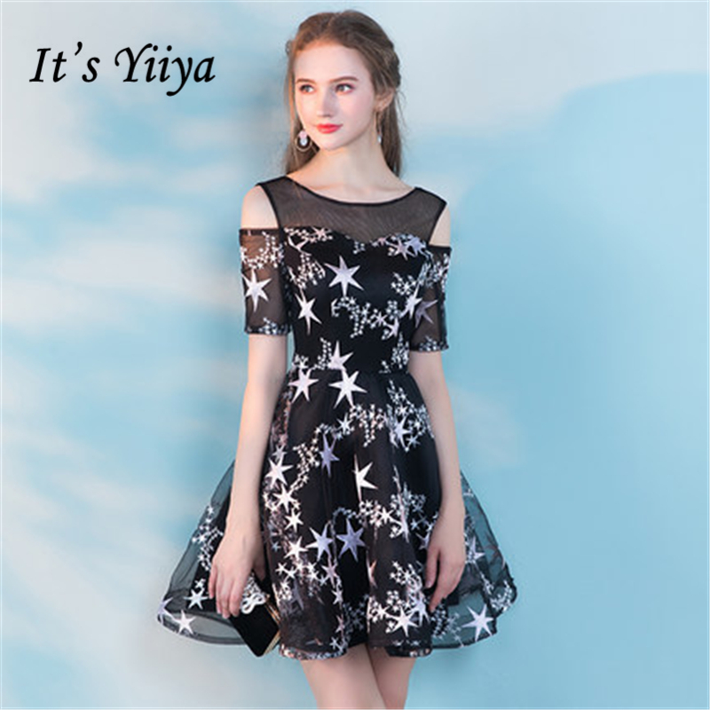 8a0f0035501cf It's YiiYa Black Cocktail Dresses Short Sleeve 2018 Fashion Designer  Contrast Color Prints Sexy ...