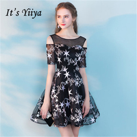 It's YiiYa Black Cocktail Dresses Short Sleeve 2018 Fashion Designer Contrast Color Prints Sexy Party Dress LX750