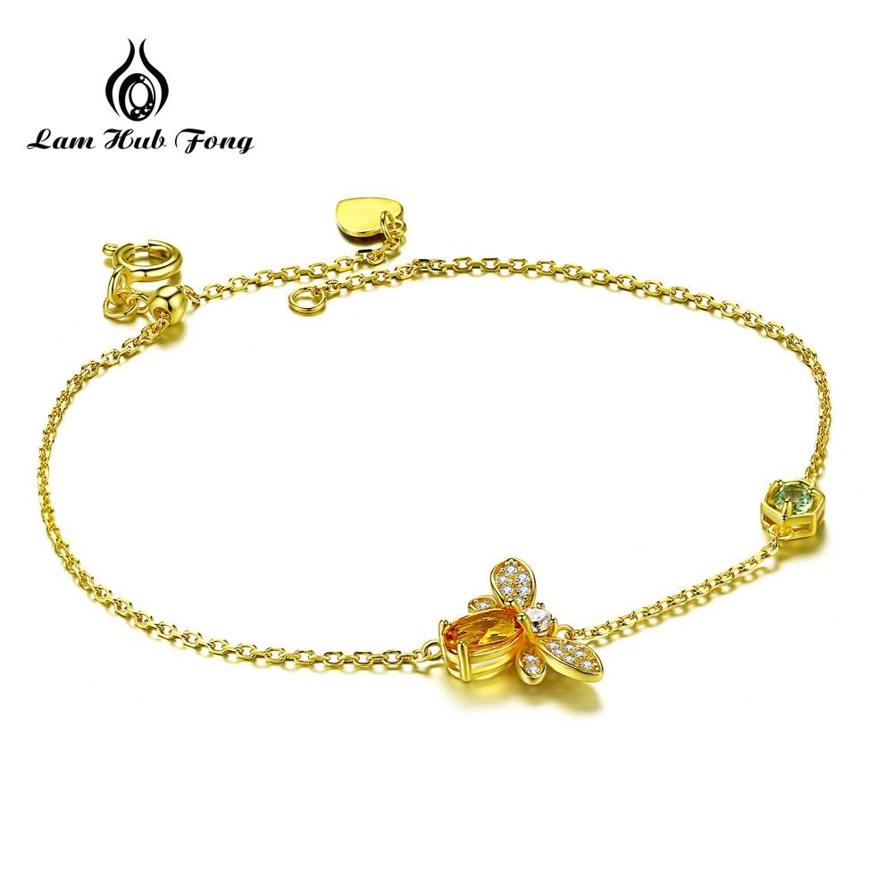 Us 20 5 Bee Bracelet 5x7mm 100 Natural Oval Citrine 925 Sterling Silver Fine Jewelry Gold Color Chain Charm S925 Gift In Bracelets