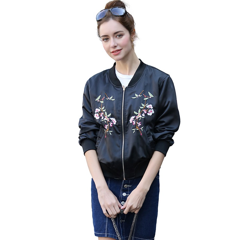 Women's   Basic     Jacket   Short Bomber Female   Jacket   Coat Spring Fashion Casual Flower Embroidered Baseball Outerwear chaqueta mujer
