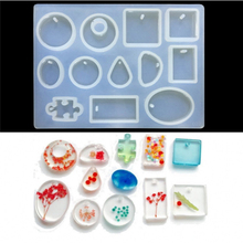 12 Designs Holes Crystal Silicone Mold Necklace Pendant Resin Jewelry Making Mould DIY Hand Craft Tools
