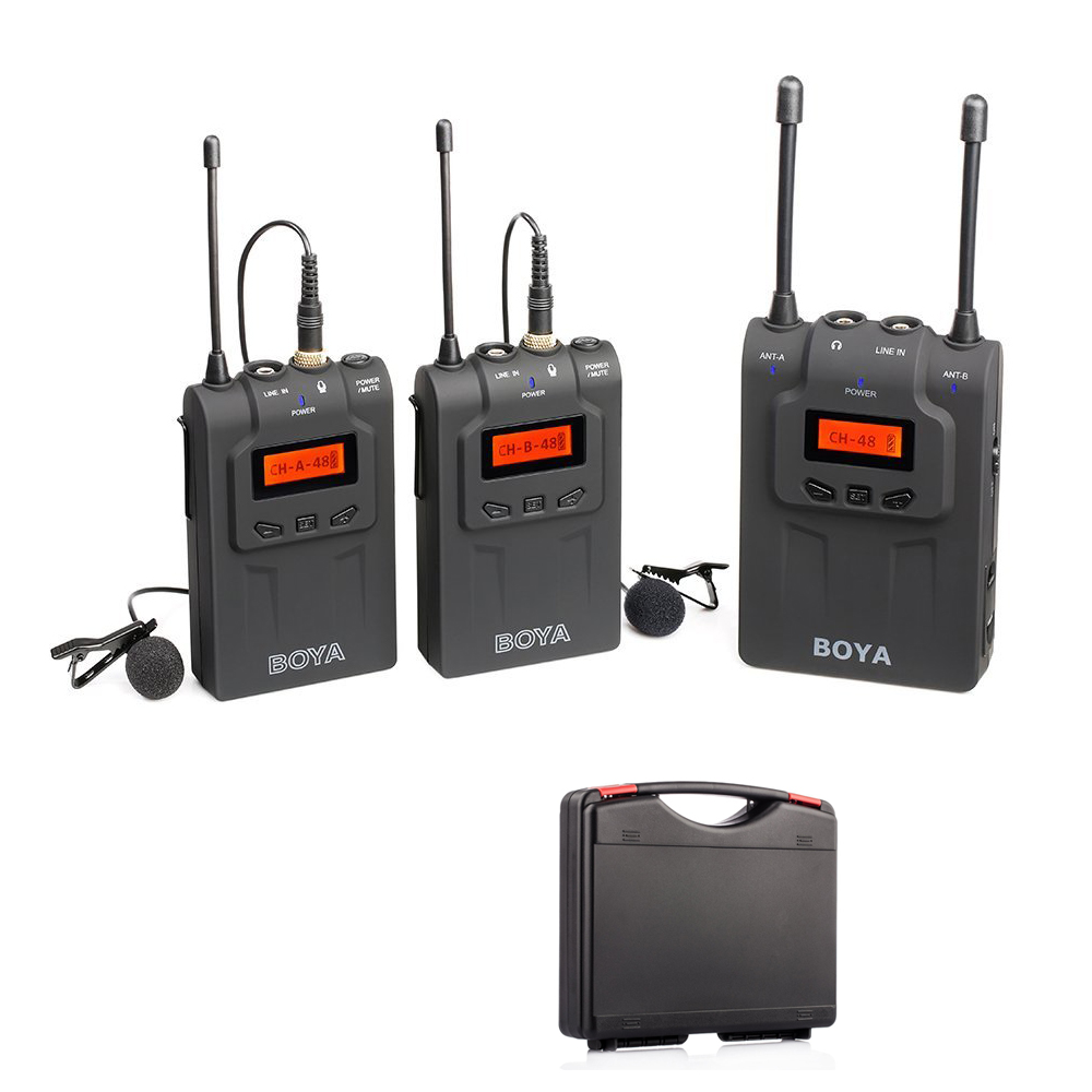 boya by wm8 uhf dual channel wireless microphone system 48 channel lavalier interviews. Black Bedroom Furniture Sets. Home Design Ideas