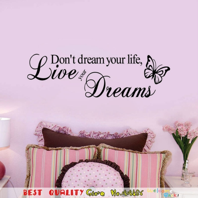 Black Words Don\'T Dream Your Life Live Your Dream Wall Sticker ...
