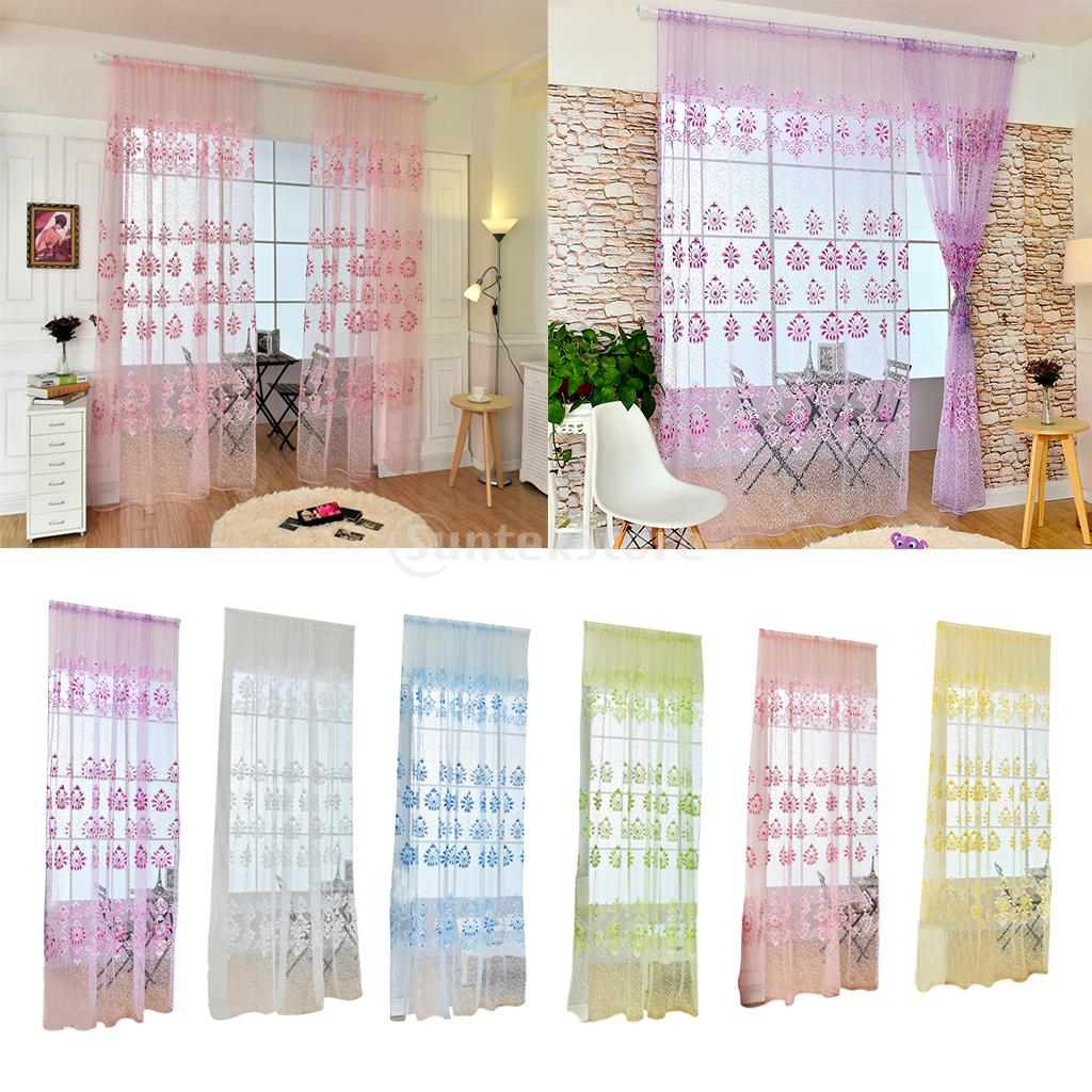 ᓂ1 x Classic flor tulle Sheer voile cortina cortinas panel cortinas ...