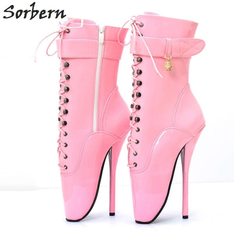 Sorbern White Patent Ballet High Heel Pump Shoes Women Custom Shoes ... 597dc07ca1da