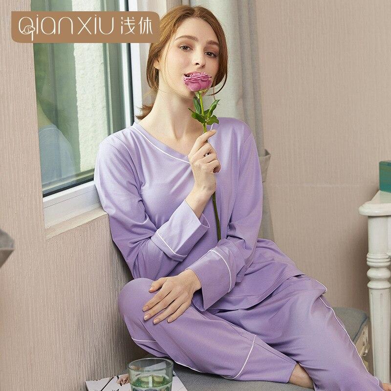 Simple spring Women cotton Pyjamas Long Sleeve Pajamas Set V collar Tops Female Pyjamas Sets solid color Night Suit Sleepwear