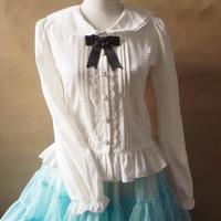 The New Brand Japanese Lolita Cute Wind Lace Shirt Chiffon White Shirt Women Long Sleeves Ruffle