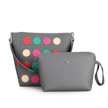 Famous Brand Fashion PU Leather Women Handbag Appliques Dots 2 Sets Composite Bags Ladies Bags Leather Tote Handbags bolsas T613