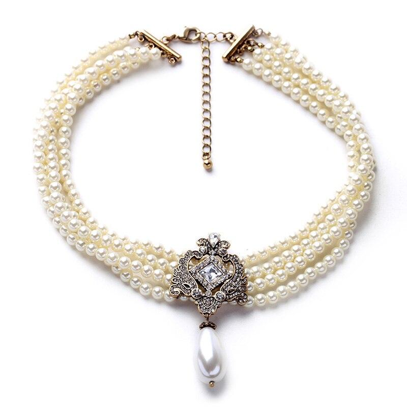 Éblouir Noble Chaîne à Perles Multicouches Collier Romantique à Perles