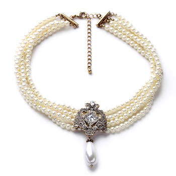 Party Dazzle Noble Multilayer Beads Chain Romantic Pearl Choker Necklace