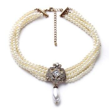 Joyería de moda para mujer, collar de Gargantilla romántica con cadena de cuentas multicapa, collar de perlas simuladas, accesorios clásicos de cristal