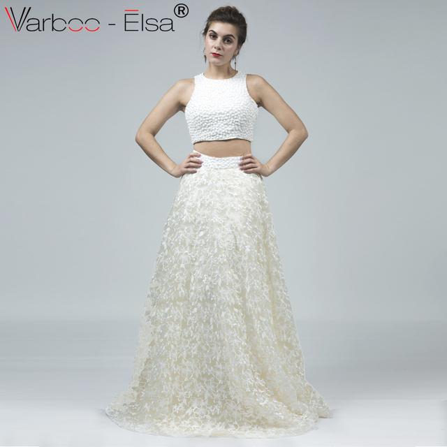 1b00ffa5d5b1 VARBOO ELSA New Beige Lace Luxury Beaded Evening Dress Short top 2 Pieces  Style Long Prom Dress robe de soiree Custom Party Gown