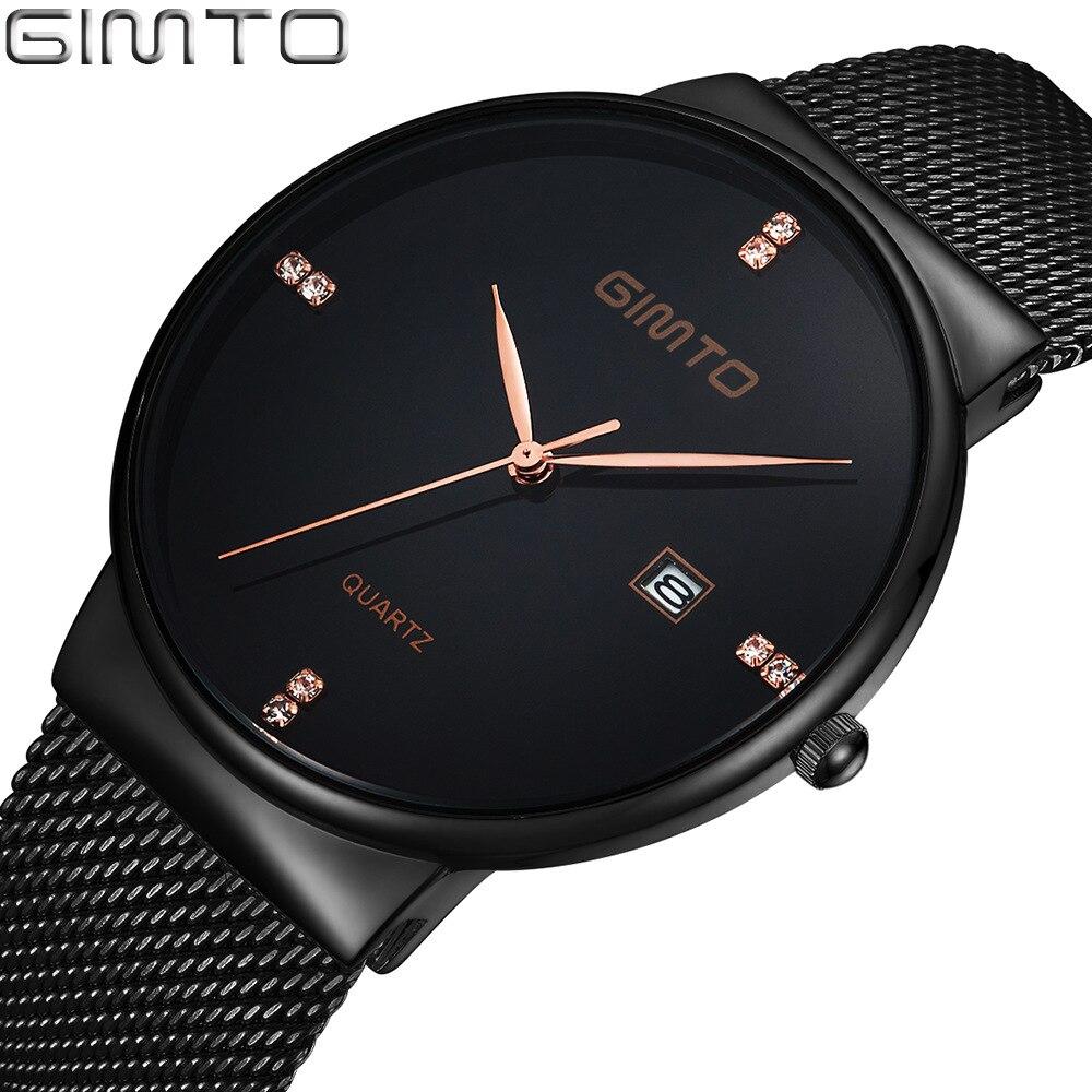 GIMTO Top Luxury Men Watch Stainless Steel Minimalism Simple Black Rhinestone Gold Man Quartz Wristwatch Fashion