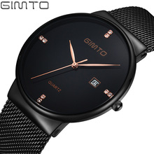 Minimalismo gimto superior de lujo de los hombres reloj de acero inoxidable negro simple rhinestone del oro reloj de hombre reloj de pulsera de cuarzo negocio de la moda