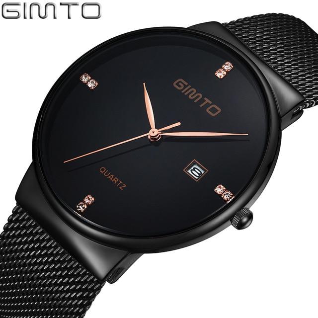 db07c54dfff GIMTO Top de Luxo Homens Minimalismo Ultra Fino Moda Preto Rhinestone Ouro  de Aço Inoxidável Relógio