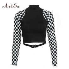 ArtSu Checkerboard Long Sleeve Crop Top Turtleneck Buckle T-shirt Women Harajuku Tee Shirt Plaid Funny T shirt Femme ASTS20632 - DISCOUNT ITEM  45% OFF All Category