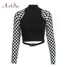 ArtSu Checkerboard Long Sleeve Crop Top Turtleneck Buckle T-shirt Women Harajuku Tee Shirt Plaid Funny T shirt Femme ASTS20632(China)