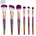 6pcs purple Makeup Brushes Set honeycomb rainbow handle Cosmetic Foundation Eyshadow Blusher Powder Brush beauty tools kits