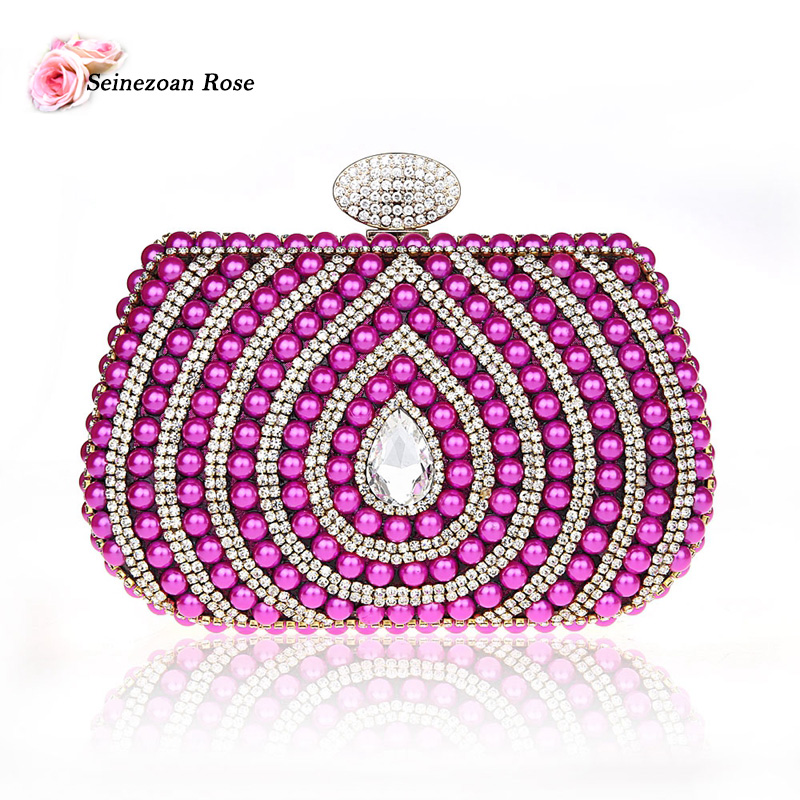 ФОТО 2016 New Luxury Women Velour Beading Handbags Rhinestone Party Wedding Clutch Bags Lady Designer Purses Small Messenger Bags