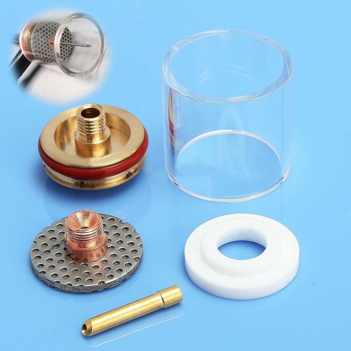 5pcs Welding Torch Nozzle Glass Cup Stubby Collet Gas Lens Insulator Kit Set For Tig WP-9/20/25 3/32 2.4 mm wp 17f sr 17f tig welding torch complete 17feet 5meter soldering iron flexible