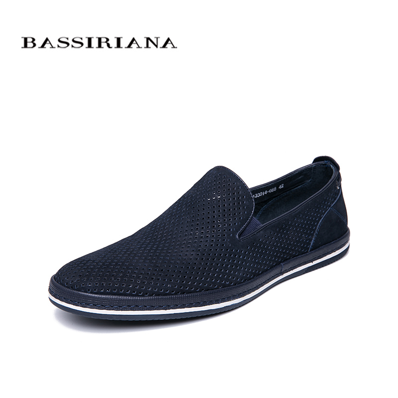 BASSIRIANA 2019 Genuine cow Leather men casual shoes round toe black Dark blue spring Summer comfortable