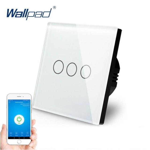 3 כנופיית WIFI Alexa Google בית IOS אנדרואיד בקרת מגע מתג Wallpad האיחוד האירופי בריטניה 3 כנופיית 1 דרך זכוכית Wifi חכם מתג קיר