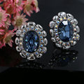 Oval Shaped Austrian Crystal Big Flower Clip-on Earrings 4 Colors Stellux Rhinestone Ear Jewelry for Women